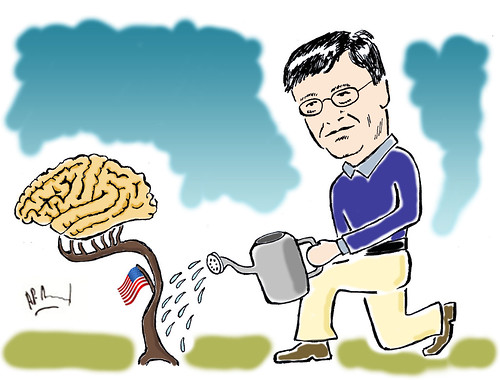 Cartoon showing Bill Gates watering a plant growing Brains