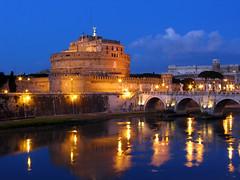Castel Sant'Angelo (apolci) Tags: italy roma reflection topv111 night topv333 topc50 topv444 topv222 supershot 10faves pictobrowser p1f1 travelerphotos 1on1nightshots