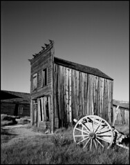 Bodie (Chris28mm) Tags: california wood old wild blackandwhite bw usa west film analog town decay ghost neglected rusty western weathered 4x5 remote rusting bodie hwy395 largeformat toyo miningtown abdandoned 210mm chris28mm copyright2007chrisjackson