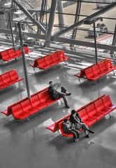 Red seats, Kansai airport (The Other Martin Tenbones) Tags: red japan 50mm airport seats osaka kansai kix