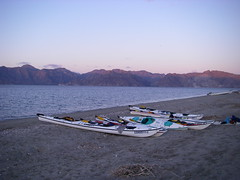 kayaks on beach at Sea of Cortez
