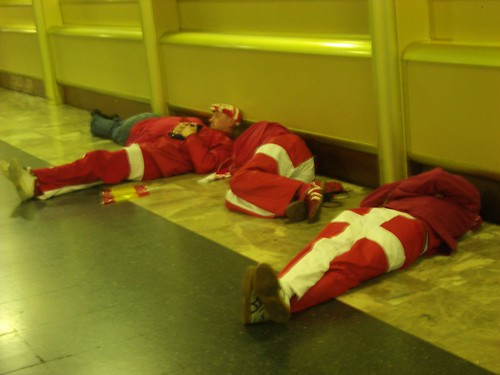 Danish fans sleeping