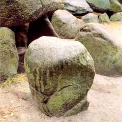 Hunebedden (Peter Gutierrez) Tags: photo europe european holland netherlands dutch drenthe groningen standing stone stones megalith megaliths megalithic burial mound mounds prehistoric funerary boulder boulders hunebedden peter gutierrez petergutierrez square format film paysbas hollande photograph photography