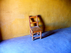 Lonely Chair (Icky Pic) Tags: park blue history yellow chair colorado alone fort national historical lonely solitary trade m16 1833 bents 1830s santafetrail bentsfort lajunta bentsoldfort moosaic williambent moosaicm16