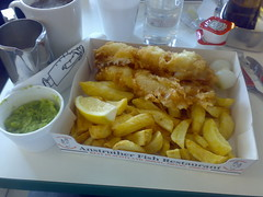 Haddock, chips and mushy peas from the Anstruther Fish Bar