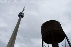 CN Tower, meet water tower (paulgalipeau.com) Tags: friends toronto water beer coffee cntower watertower espresso barista capucino fridaythe13th steamwhistle samjames samjamescoffebar 297harbordstreet samjamescoffeebar