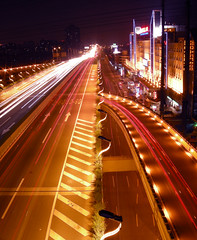 CHINA - Shanghai - Night view (Franck -  - ) Tags: china road blue light red urban favorite motion color colour cars car night movement asia view shanghai traffic illuminations fave  elevated       brilliant                     top20longexposure  abigfave anawesomeshot colorphotoaward   superbmasterpiece