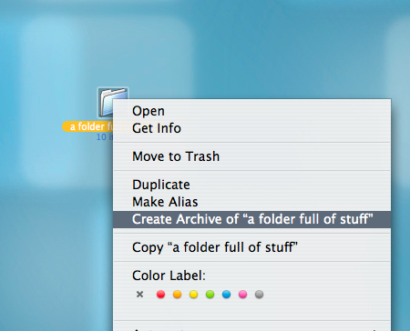 making a zip file on Mac OS X