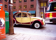 King and Yonge (Musical Mint) Tags: city urban toronto ontario canada car architecture downtown decay citroen charleston 2cv intersection streetcar musicalmint citroencharleston