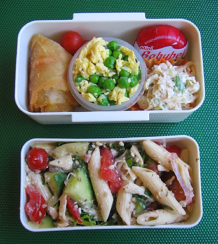 Pasta salad lunches & frozen fruit cocktail