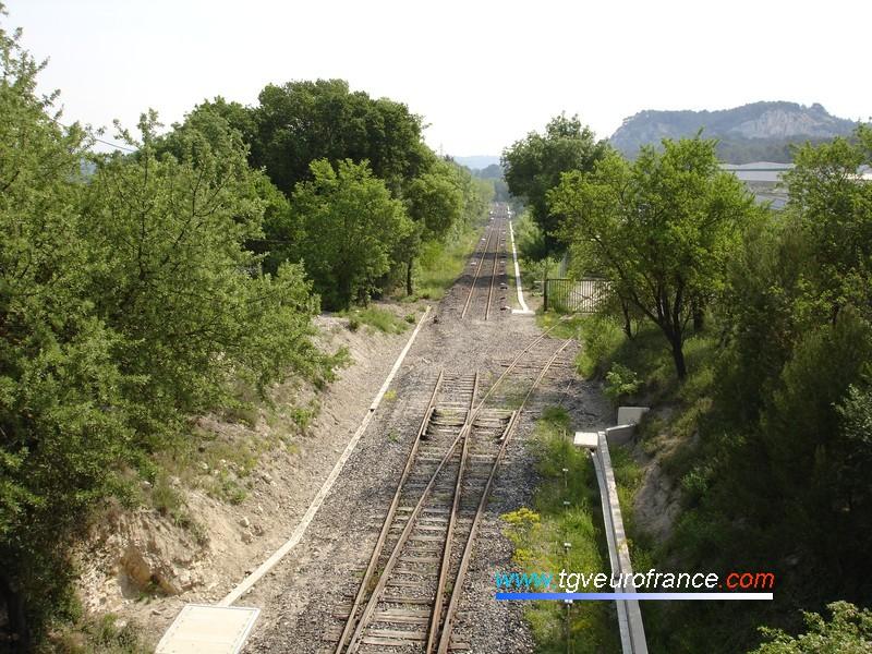 Vue de la voie Aix-Marseille (direction Gardanne) depuis la tranchée de Septèmes