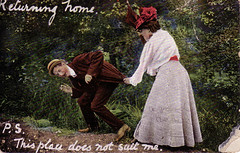'Returning home.  P.S. This place does not suit me.' (TinTrunk) Tags: woman man umbrella code postcard assault scan ephemera edwardian 1900s backwardswriting