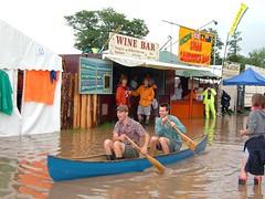 Always be prepared ! (PodcastingUK) Tags: food area wine bar boat canoe flood glastonbury festival 2005 friday rain
