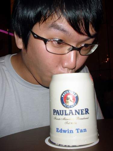 Edwin hearts his Paulaner... mug