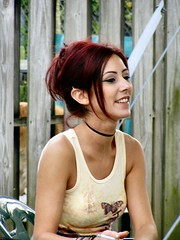 Chanel Hangin' 2004 (bfraz) Tags: earing red hair smoker smile face portrait girl woman