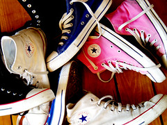 his 'n' hers (macca) Tags: chucks converse boots floor sneaks sneakers chuck white pink blue black rubber soles laces wood allstars