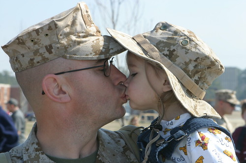 A kiss goodbye by live in iraq.