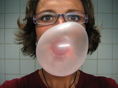 bubblegum fun (eMotionblogster karolien taverniers) Tags: selfportrait me self ego glasses mirror bubble bubblegum emotionblogster karol karolien karolientaverniers taverniers