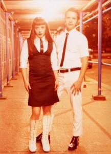 nyc fashion mod 1999 retro aline mods fluevog whitepants paulweller whiteboots gogoboots skinnytie skinnyties customclothing gogoboot leathertie melissapunch