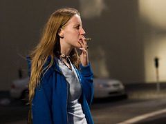 (whileseated) Tags: sanfrancisco street blue portrait people urban public geotagged necklace sweater women smoker noflashcorner nfc2 reflectednaturallight wnwsmoking onwhileseatedorg