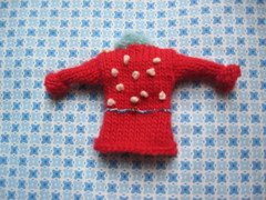 #3 Tiny red/blue beaded sweater (wise craft, handmade by Blair Stocker) Tags: red tiny sweater swap knitting knit homemade ornaments holiday handmade embroidery craft christmas beads swaps fabric