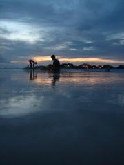Wet Sunset (barrycburton) Tags: skimboard water sunset gulf florida seagrove beach landscape brett hava reflection
