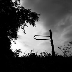 Signpost to Nowhere (Hart from Golborne) Tags: sign signpost silhouette cloud nowhere empty blank direction pointer