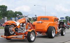 Dream Cruise '05 (~ Liberty Images) Tags: auto orange cars ford bike canon vintage automobile couple powershot retro chrome transportation motorcycle a80 classiccars woodwarddreamcruise canonpowershota80