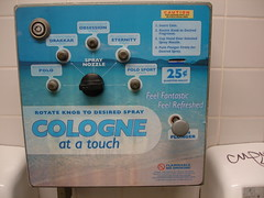 Cologne at a touch ! (drew*in*chicago) Tags: blue sport bathroom touch machine cologne obsession fresh spray truckstop restroom vendingmachine squirt eternity refreshing polo nasty plunger stinky danky flamable drakkar cologneatatouch feelfantastic feelrefreshed drewinchicago
