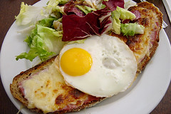 Croque madame (Heather Leah Kennedy) Tags: madame food paris france cheese french salad egg ham sandwich fried croque