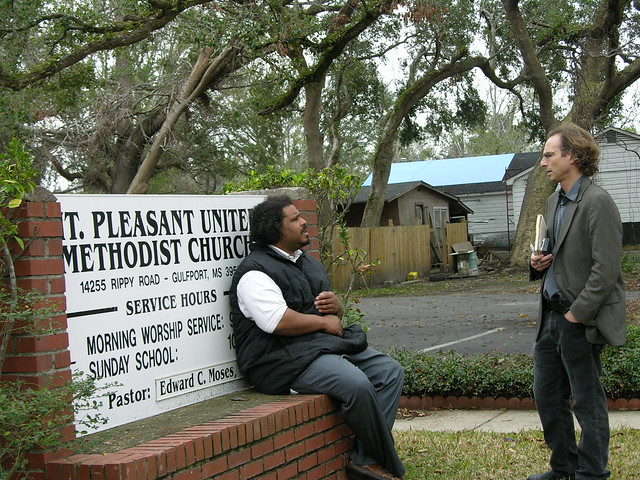 Derrick Evans and journalist Jonathan Tilove outside Mt. Pleasant United Methodist Church, Rippy Road, Turkey Creek, MS. (Photo by Ben Greenberg)