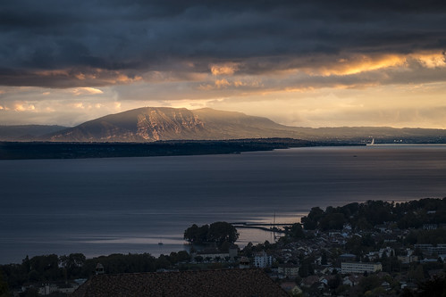 Dramatic evening light falling on Mont Salève, Geneva