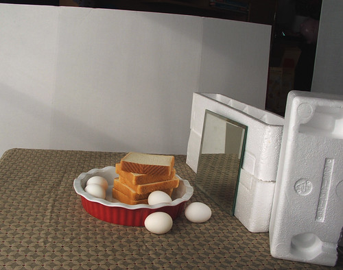 Eggs, bread, pie plate set-up (FUJIFILM)