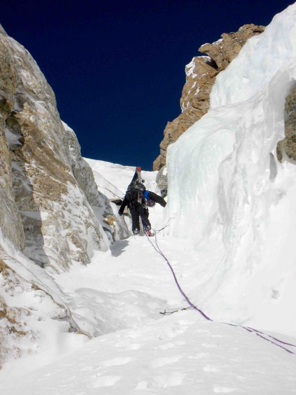 Brain Harder climbs the Chevy Couloir on the Grand Teton
