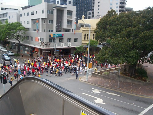 March passes cnr of George and Herschel  Sts - Invasion Day Rally and March, Brisbane, Queensland, Australia 070126