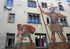 Colourful fresco od David and Goliath in Regensburg (Bavaria), Germany
