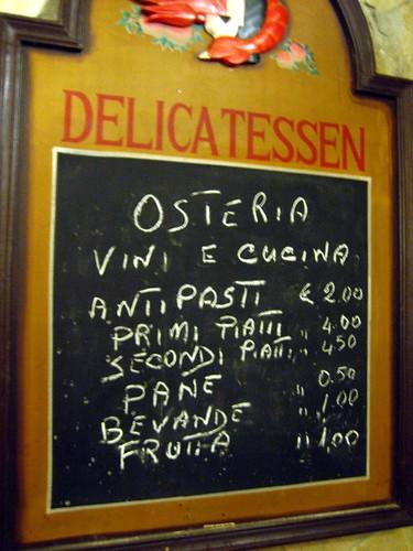 The ... 'menu' at vini e cucina
