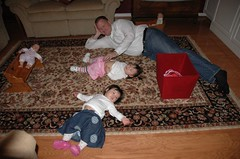Laying on the floor after a HUGE meal (a family tradition)