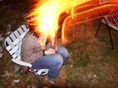 Isa's head caught on fire