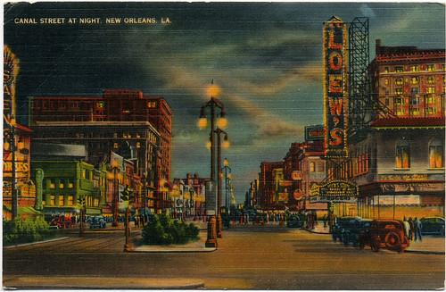 Postcard: NOLA. Canal St.@ Night