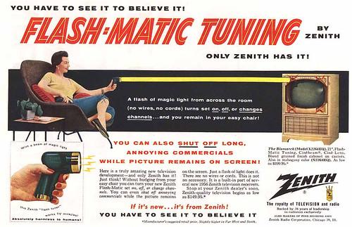 Anuncio del primer flash-matic, el mando a distancia por ultrasonidos para la televisión