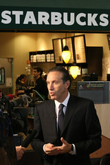 Starbucks Chairman Howard Schultz Talks to the Media