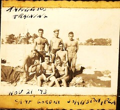 WW2 1943 training buddies (Globetoppers) Tags: dog island father normandy basictraining sohl 12thinfantry scansofwwiiscrapbook