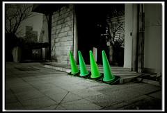 Green Pylons (B*_J) Tags: urban color green monochrome canon triangle sigma pylon material yokohama
