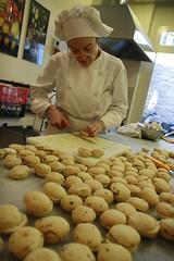 Victoria prepares the mini panini