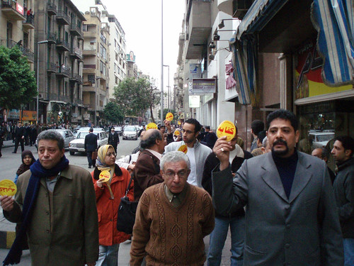 Kefaya activists march in Talaat Harb (Pic by Hossam el-Hamalawy)