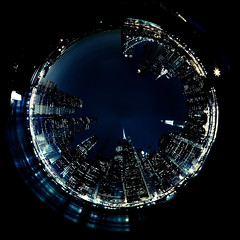 NYC skyline polar projection (chapterthree) Tags: new york city nyc skyline hole projection polar circular worldwidepanoram