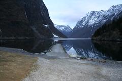 Gudvangen, Norway (Frk Martine) Tags: mountain snow tree norway landscape norge fjord stein fjell sn fjelltopp brygge landskap trr gudvangen