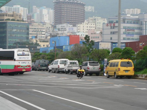 Forgotten photo - first pedal strokes out of Pusan ferry terminal (taken by Katy in Pusan, Korea)