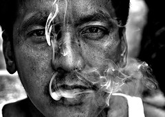 smoke1 (Edwin_Martinez) Tags: cigarette smoke smokers pilipino pinoy tamron2875mm canon30d blackandwhiteportrait edwinmartinez monochromeportrait